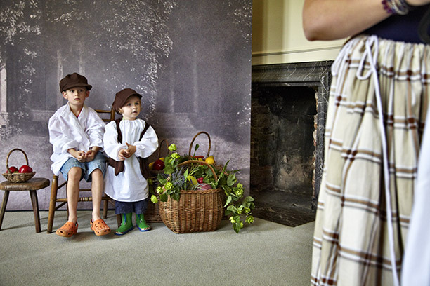 History beyond the academy: children dress up in period costume on a visit to Lacock Academy, Wiltshire
