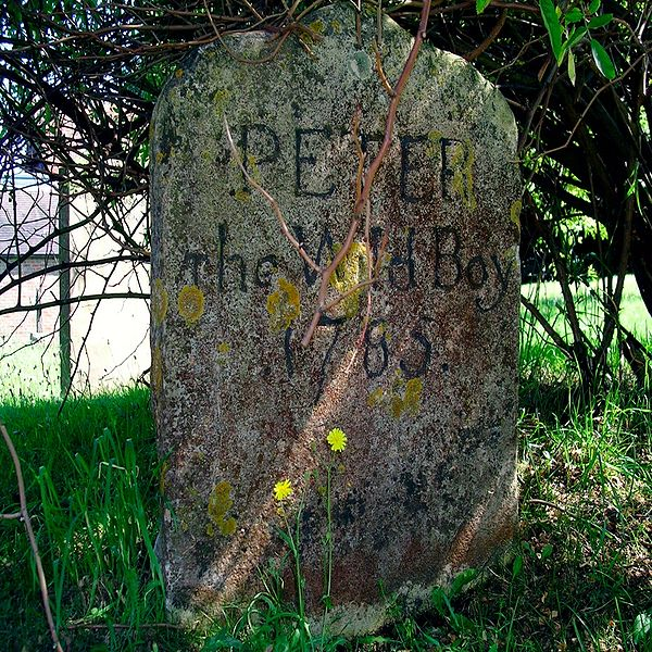 Gravestone of Peter the Wild Boy at St Mary's Church, Northchurch, Hertfordshire