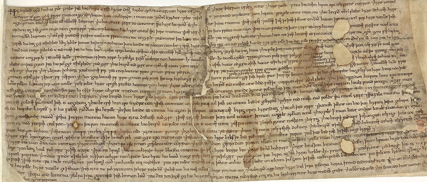The surviving copy of Wynflæd's will, possible 11th century.