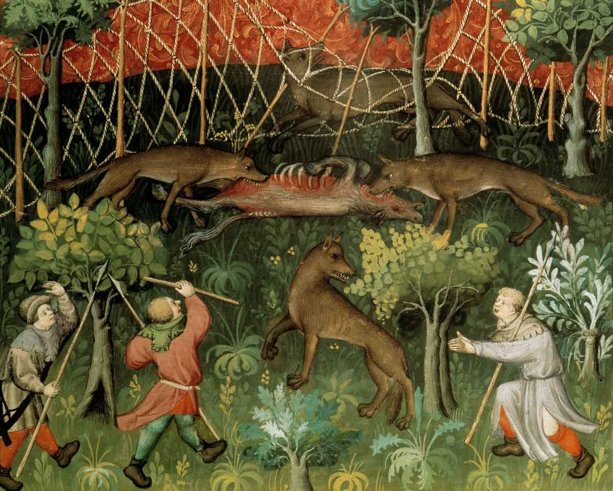A wolf hunt, from the Livre de chasse, by Gaston Fébus, c.1407 © akg-images.