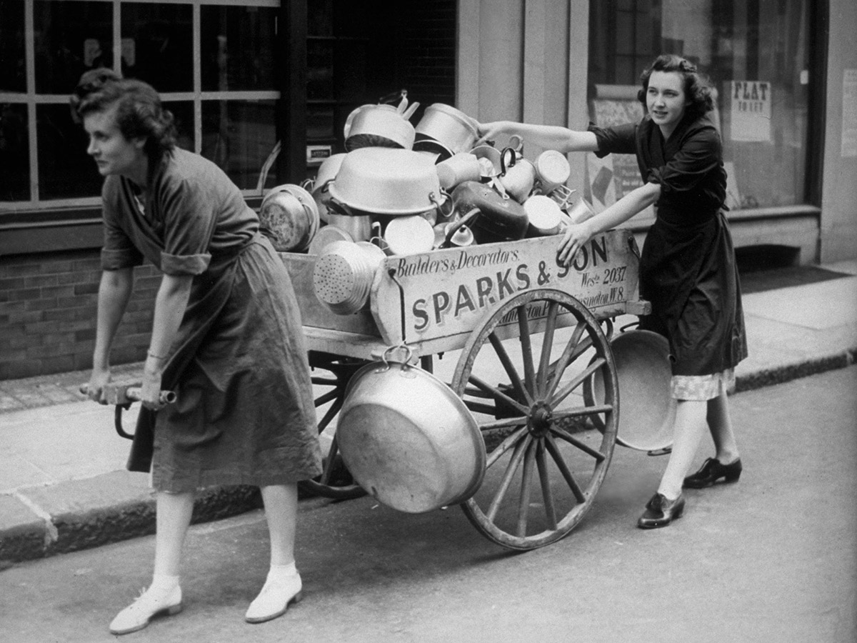 Members of the Women's Voluntary Service collecting aluminium, London, 1940.