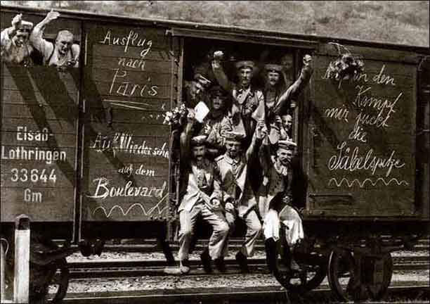 German soldiers in a railroad car on the way to the front during early World War I