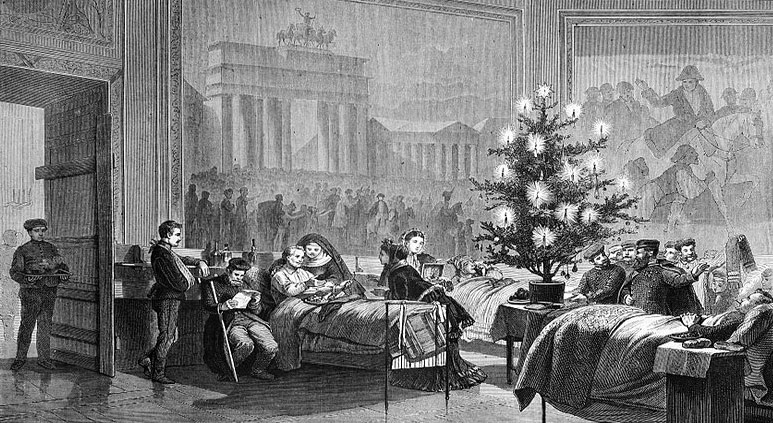 A Christmas tree for German soldiers in a temporary hospital in 1871