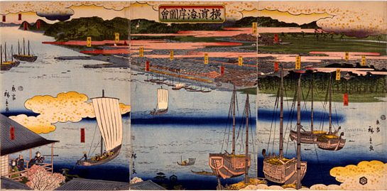 Picture of the Coast of Yokohama by Hiroshige II, 1860