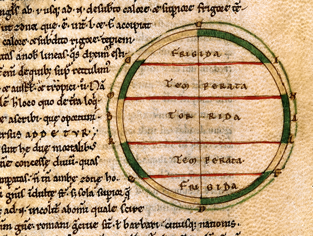 Zones of Earth from Macrobius' Commentary on The Dream of Scipio, 12th-century manuscript.